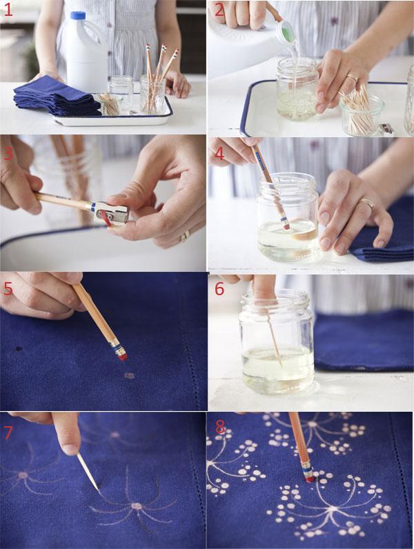 Dibujar en una servilleta de tela con lejía