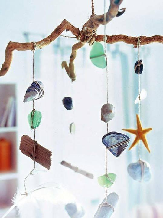 Campana de viento con elementos del mar