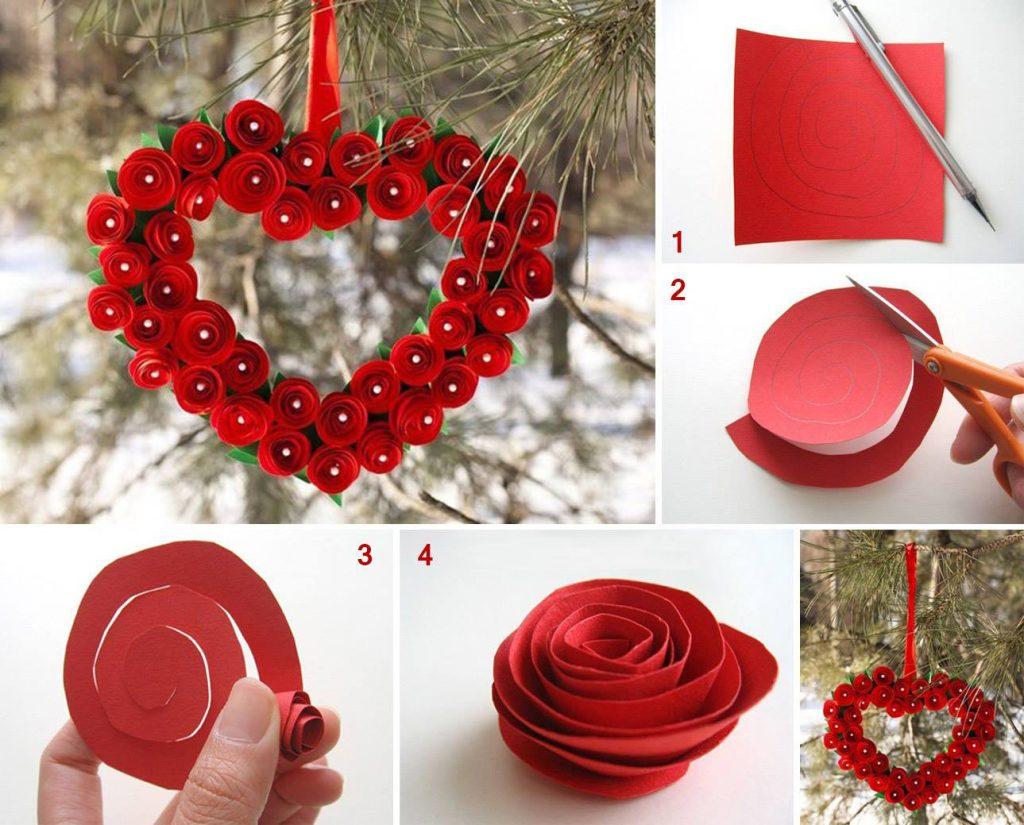 como se hace un corazon de flores de papel